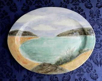 Large Summer Lake Platter,  Handmade Oval Serving Plate, Turkey Platter, Landscape Pottery
