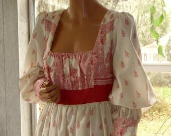 "Gunne Sax Dress "" East Indian Block Print on Muslin"" Large"