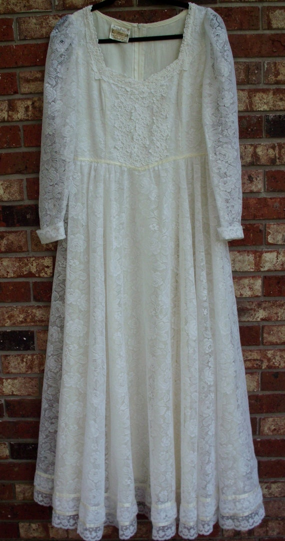 Gunne Sax Dress  Bridal White Ribbon and Lace Siz… - image 3