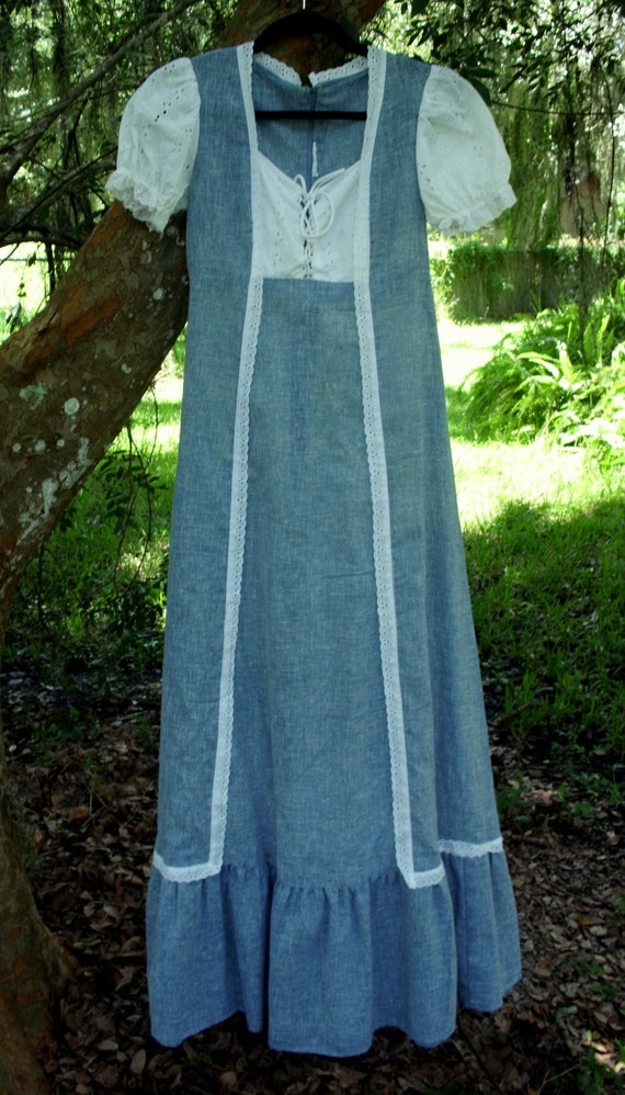 Gunne Sax Style Dress Blue Chambray and White Eyel