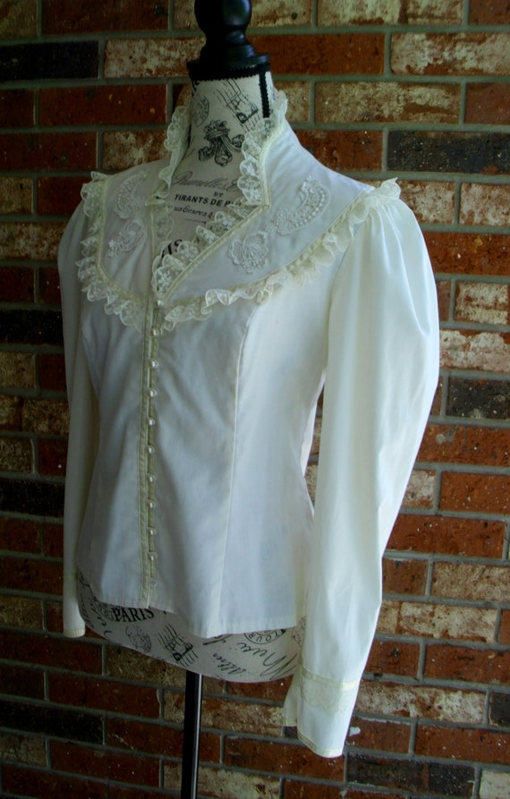 Gunne Sax Blouse 'Lace and Ribbon on the Prairie' - image 6