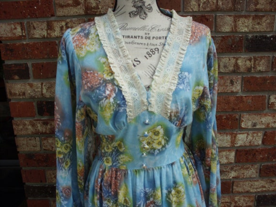 Gunne Sax Style Dress with Fairy Sleeves