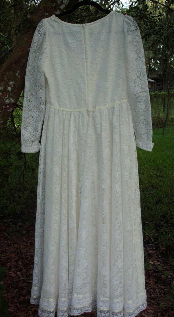 Gunne Sax Dress  Bridal White Ribbon and Lace Siz… - image 7