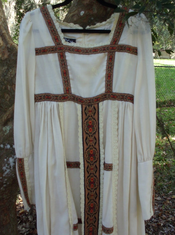 Gunne Sax Dress Black Label Ren Style Tapestry Rib