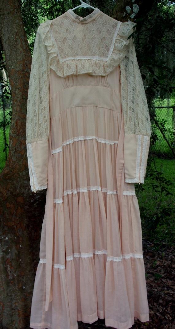 Gunne Sax Dress in Pale Peach Size 13 - image 8