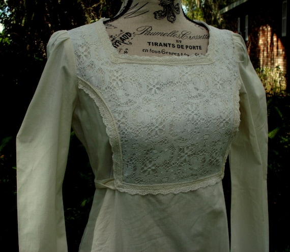 Gunne Sax Dress Lace and Poplin Large Vintage 11