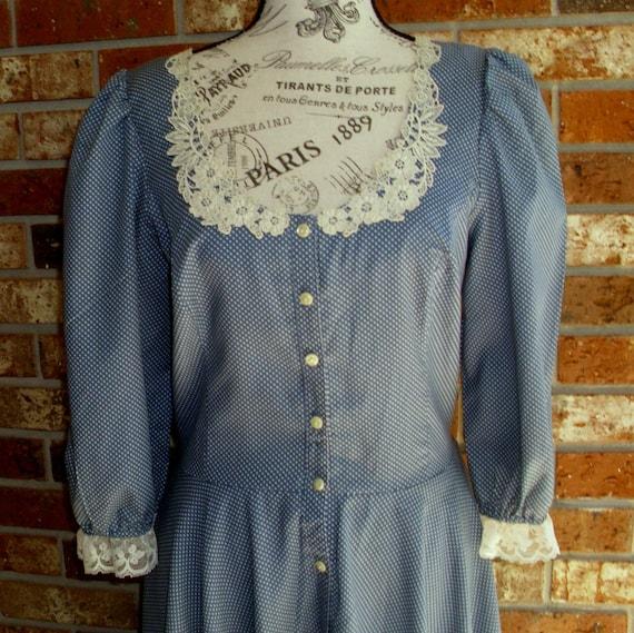 Gunne Sax Dress  White Dots on Cornflower Blue Siz