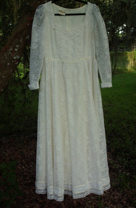 Gunne Sax Dress  Bridal White Ribbon and Lace Siz… - image 5