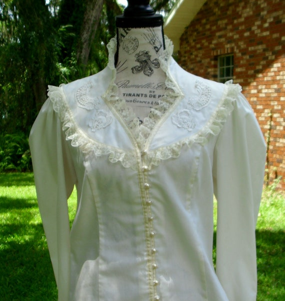 Gunne Sax Blouse 'Lace and Ribbon on the Prairie' - image 4