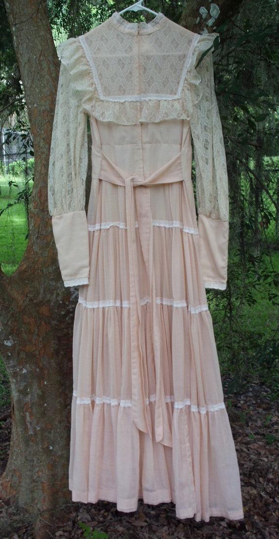 Gunne Sax Dress in Pale Peach Size 13 - image 5