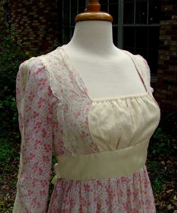 Gunne Sax Dress 'Calico Lace and Satin""