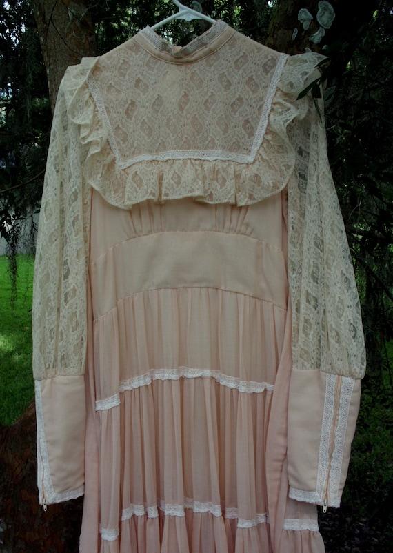 Gunne Sax Dress in Pale Peach Size 13 - image 6