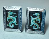 toshikane cuff links porcelain sterling silver dragon