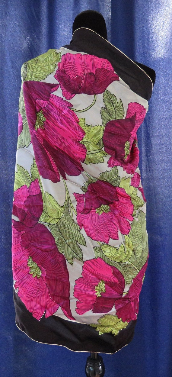 Hot floral scarf Fuschia poppies green leaves Silk