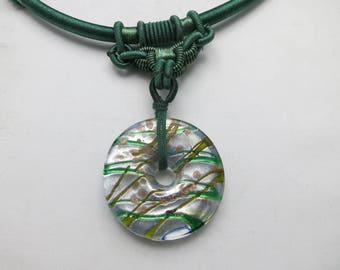 Glass bead necklace Fancy Green Blue silver