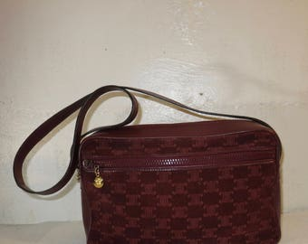 Celine Paris France purse Suede wine color Seventies