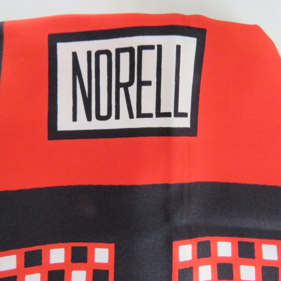 NORMAN NORELL red black white silk scarf large squ