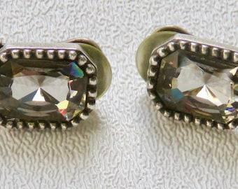 Dior earrings Smokey Rhinestone earrings Vintage Christian Dior Clip