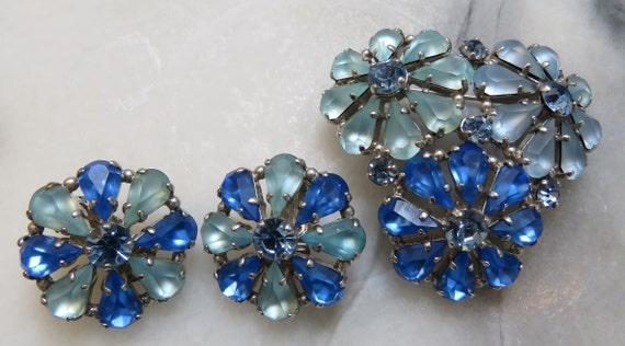Rhinestone earring pin SET Blue Wedding flowers