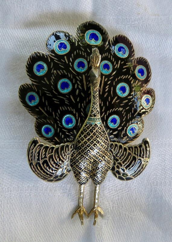 Peacock Pin Siam SIlver peacock Brooch Thailand Pe