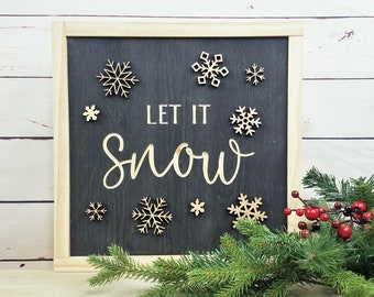 Let It Snow Carved Sign with 3D Laser Snowflakes | Carved Wooden Sign Christmas Decor Wood Sign | Farmhouse Christmas Winter Sign