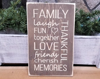 IN STOCK - Family Memories Carved Wooden Subway Sign - 8x12 Carved Farmhouse Sign in Vintage Stain