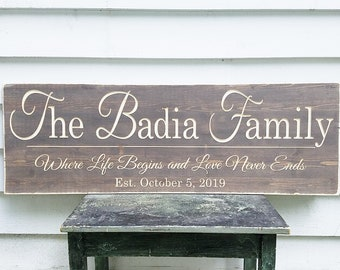 Large Elegant Last Name Sign with Quote or First Names | Personalized Family Wood Sign | 16x48 Wedding Carved Engraved Wooden Sign