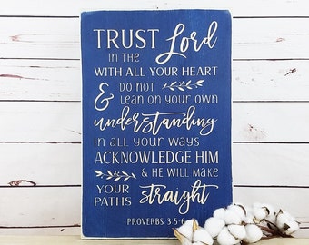 Trust in the Lord with all Your Heart  | 12x18 Proverbs 3:5 Carved Wooden Sign | Modern Farmhouse Bible Verse Wood Sign