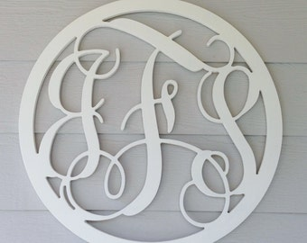 Circle Wooden Monogram - Unpainted - You Pick Font