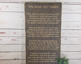 The Road Not Taken Poem by Robert Frost   Wooden Sign Wall Art with Carved Lettering   16x30 Distressed Rustic Engraved Wood Sign