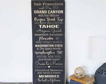 CUSTOM Family Vacations Sign   12x30 City State Landmark Favorite Places Family Memories   Distressed Farmhouse Carved Wood Sign