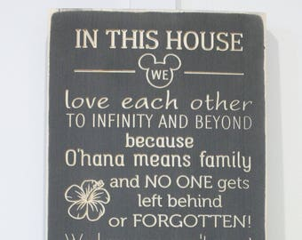 Disney Rules Happily Ever After  | 12x30 In This House We Do Disney | House Rules Family Rules Sign | Carved Wood Sign