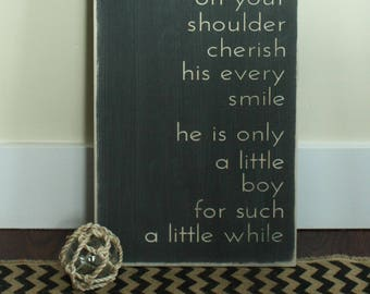 Hold Him a Little Longer  | 12x36 Carved Wood Sign | Little Boy Nursery Decor Baby Shower Gift | Shabby Chic Wooden Sign