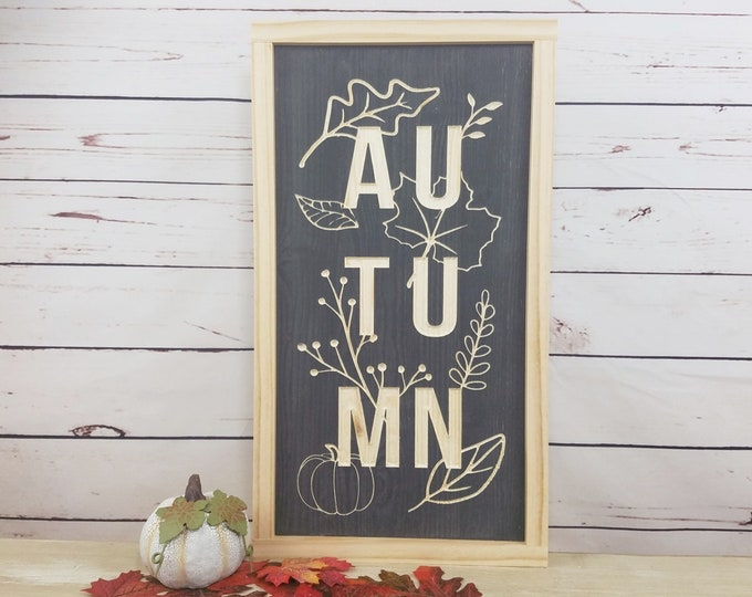 Featured listing image: Autumn Wood Sign  | 10x18 Fall Decor Wood Sign with Farmhouse Frame | Carved Letters
