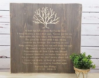 PERSONALIZED Family Tree Memorial | A Limb Has Fallen Rustic Wood Sign | 20x20 Farmhouse Carved Funeral Wooden Sign