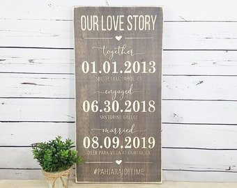 Our Love Story Wedding Date Sign  | 12x24 Carved Important Dates  | Together Engaged Married | Wedding Hashtag Wood Sign
