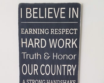 We Believe House Rules Family Rules Motto Large Farmhouse Wood Sign - 16x30 Carved Rustic Family Values Sign
