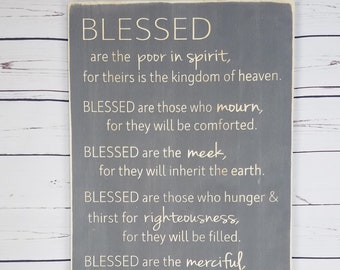 Beatitudes Carved Wooden Sign | Large Rustic Farmhouse Sign | Blessed are the Poor | Bible Verse Scripture Wood Sign