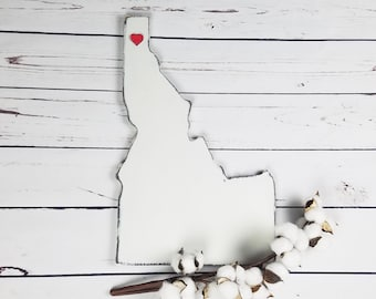 "16"" Large Wood State Cutout with 3D Heart 