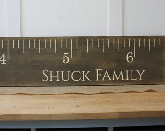 Carved Wooden Growth Ruler Growth Chart  | 10x48 Engraved Wood Children's Height Chart