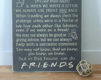 Friends Rules In This House We Do Friends Rustic Wood Sign - 16x30