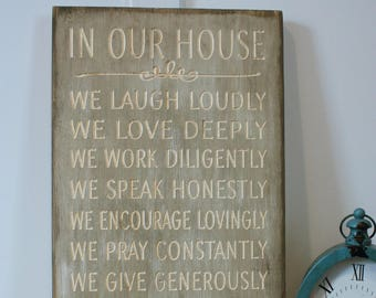 12x24 All Because of Jesus Vintage House Rules Wooden Sign