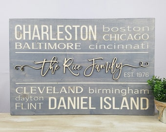PERSONALIZED Favorite Cities Sign | 16x24 City State Address Wood Subway Sign | Carved Sign with 3D Raised Laser Name