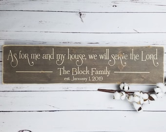 As for Me and My House We Will Serve The Lord  | 8x30 Personalized Family Name Carved Wood Sign | Wedding Gift