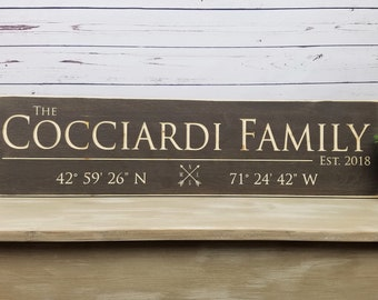 Last Name Sign with GPS Coordinates | Personalized Family Wood Sign | Established Date | Housewarming Wedding Anniversary Carved Wooden Sign