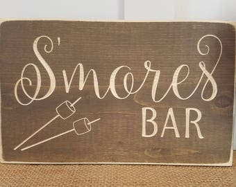 S'mores Bar  | Carved Rustic Wood Sign | 8x12 Distressed Wooden Firepit Wedding Sign