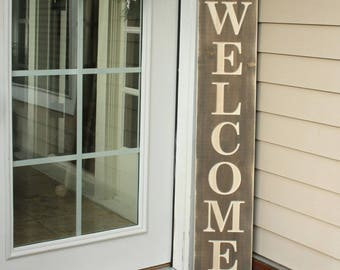 Large Wooden Welcome Sign | 10x48 Carved Engraved Wood Entry Porch Sign | Farmhouse Front Porch Sign