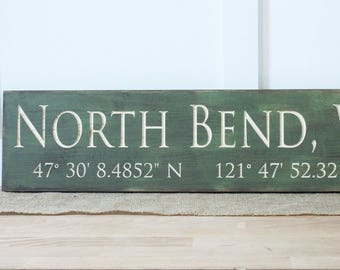 Customized City and State with GPS Coordinates  | 8x30 Carved Wood Sign | Farmhouse Sign