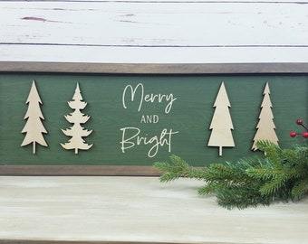 Merry and Bright Wood Sign | Carved Sign with 3D Laser Trees | Wooden Sign Christmas Decor Wood Sign | Farmhouse Christmas Holiday Sign