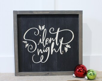 Silent Night   12x12 Christmas Carved Farmhouse Wood Sign   Distressed Rustic Wooden Sign